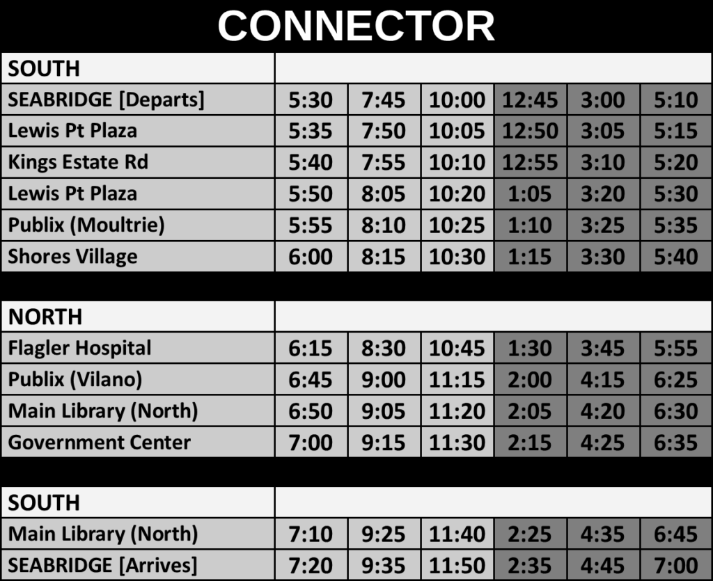 Schedules – The Sunshine Bus Company
