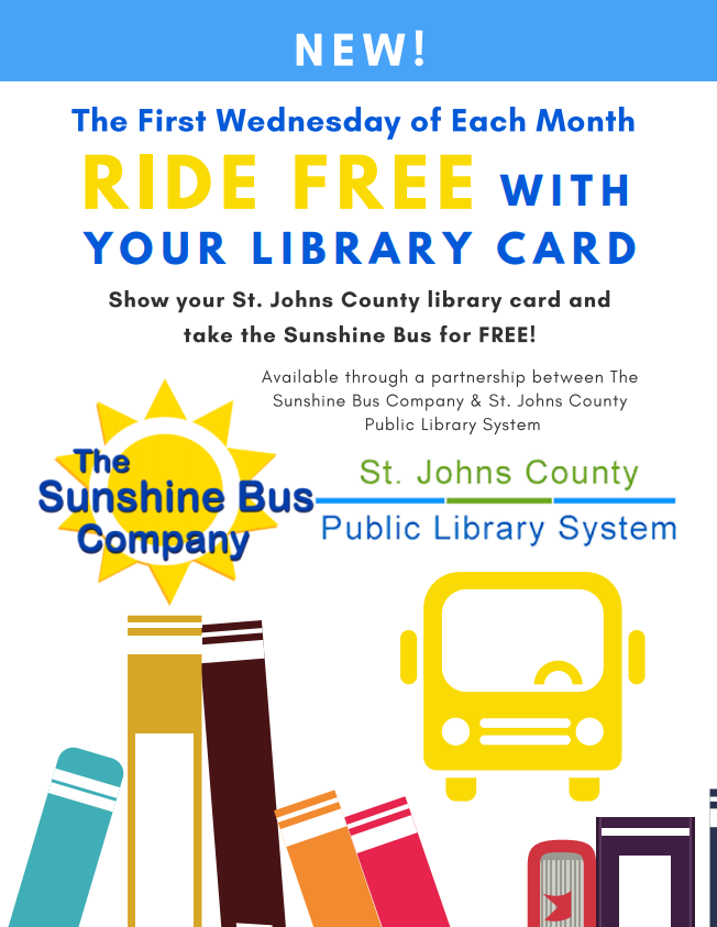 A flier to inform Riders that every first Wednesday of the month, individuals can ride for free by showing their SJC Library Card to the Driver when boarding the bus.